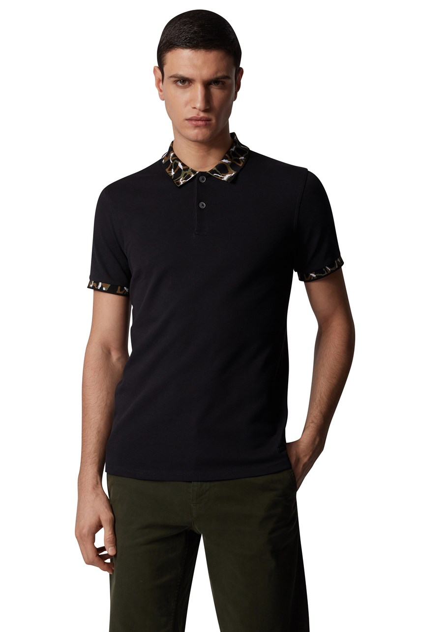 Pixl Patterned Collar Polo Shirt