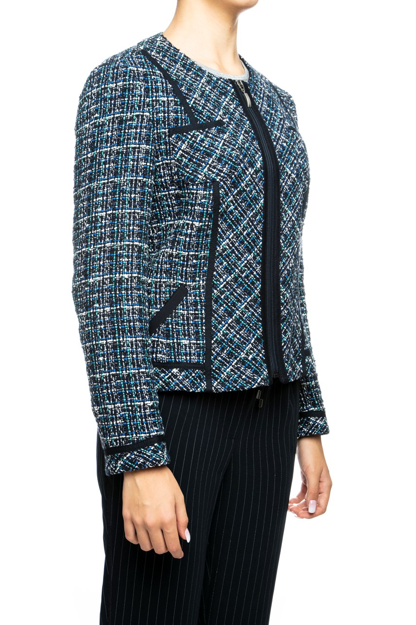 Structured Tweed Zip Up Blazer