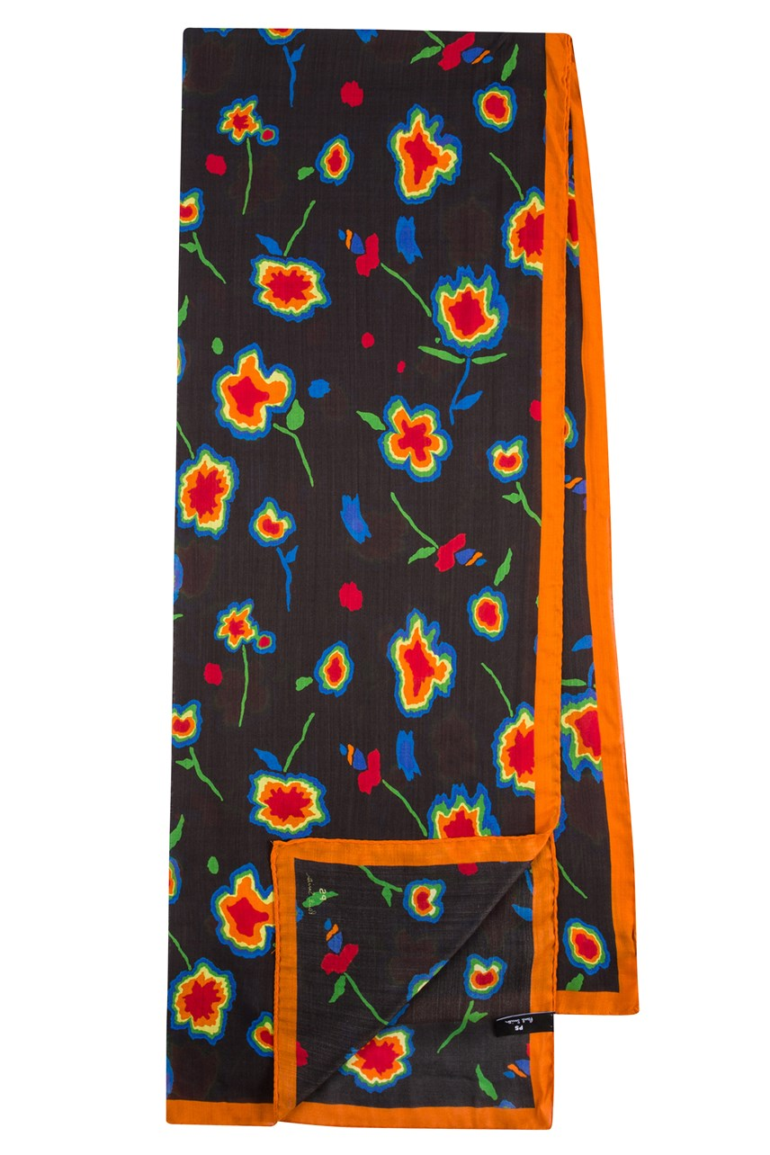 Wool And Silk-Blend Heat Map Floral Print Scarf