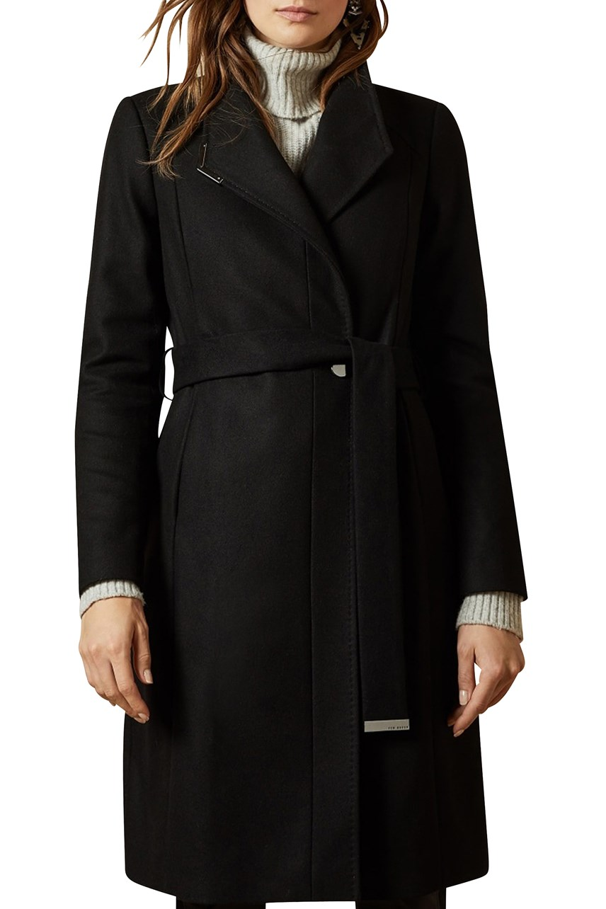 Ellgenc Long Belted Wrap Coat