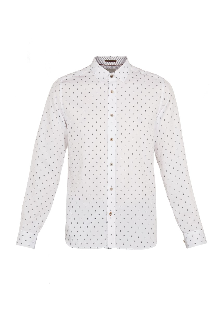 Diamond Print Cotton Shirt
