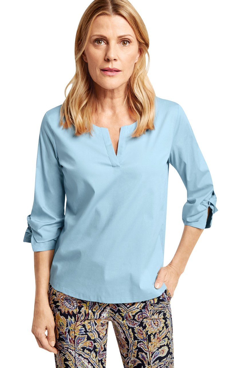 V Neck Blouse With Gathered Sleeves