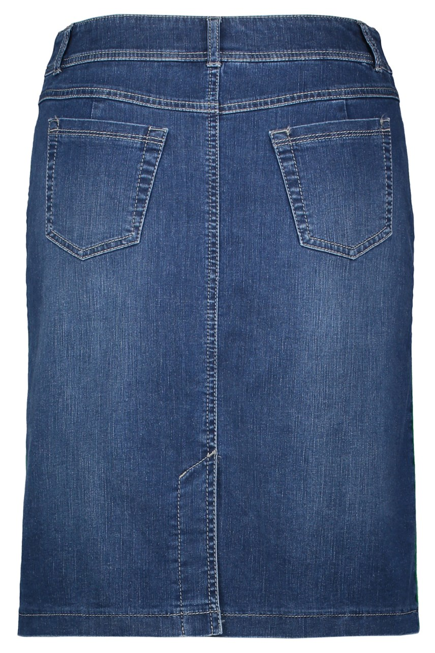 Denim Skirt With Contrast Stripe