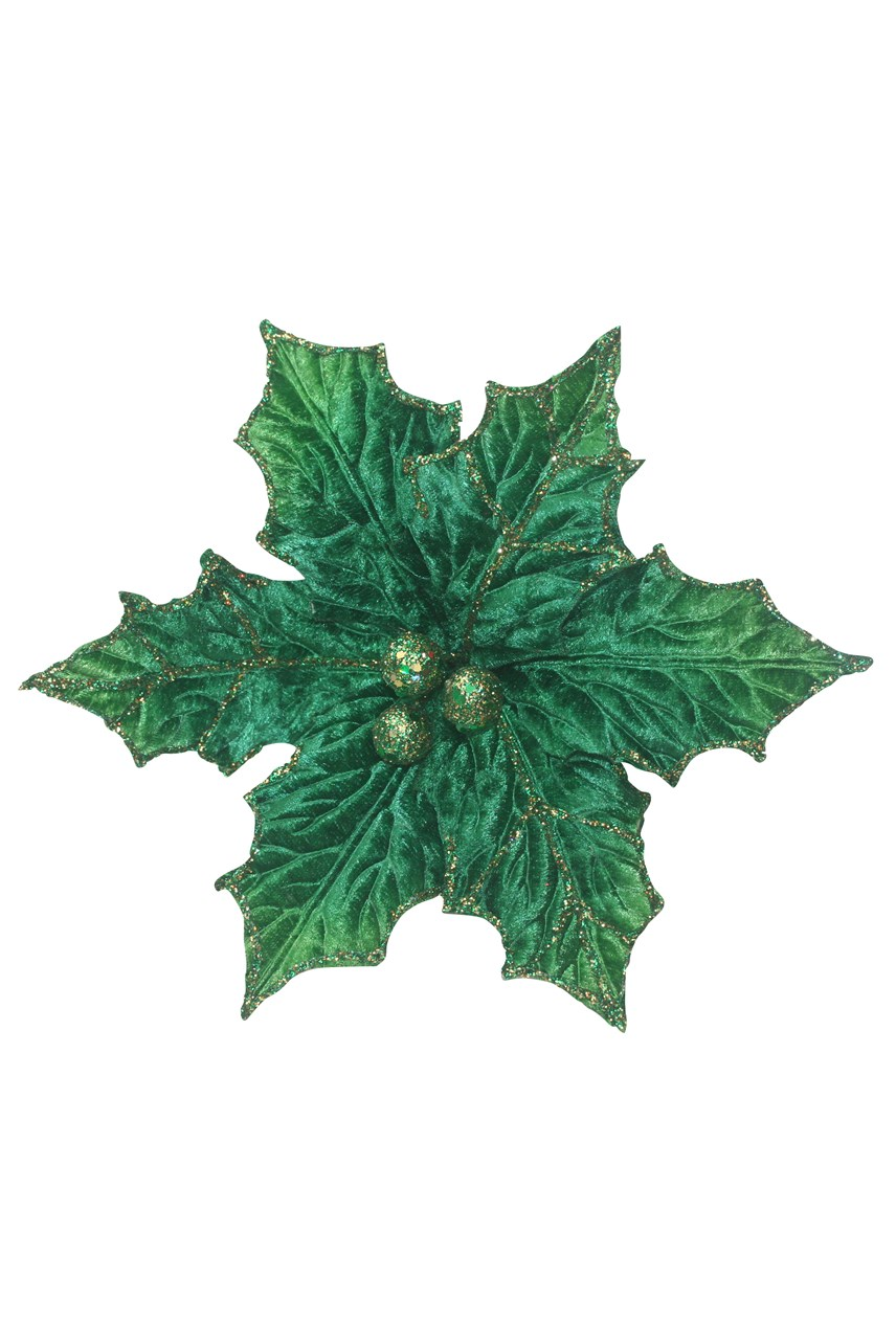 Holly Poinsettia With Clip - Large