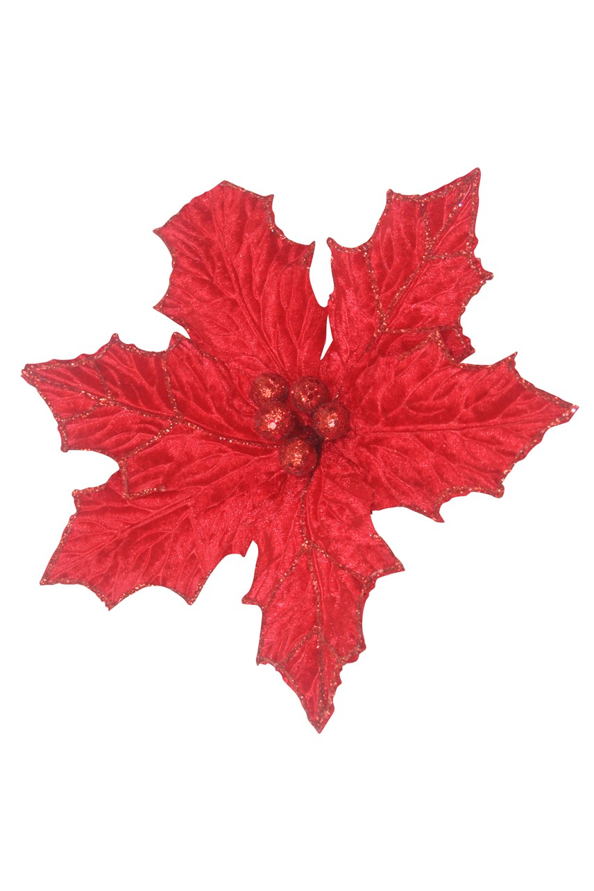 Holly Poinsettia With Clip - Extra Large