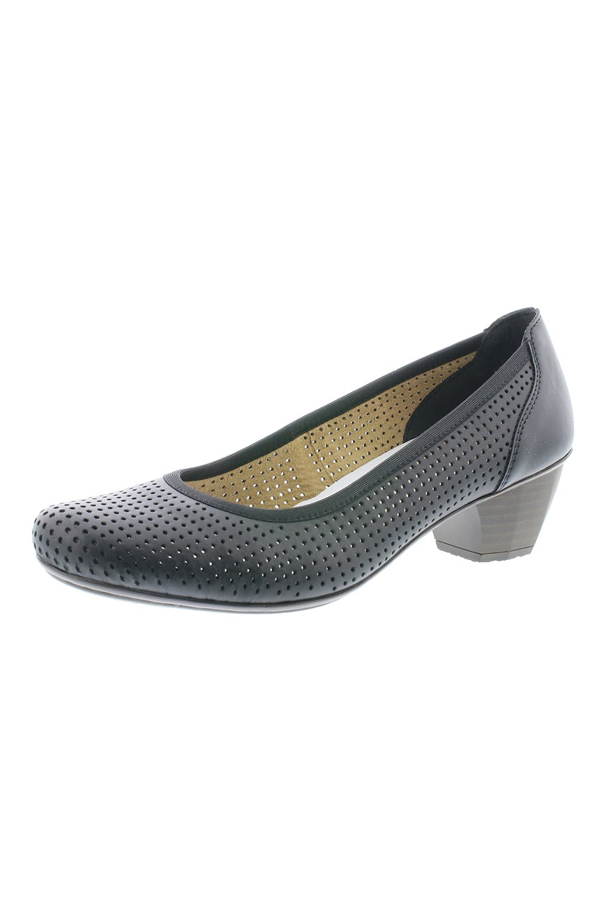 Leather Punched Hole Court Shoe