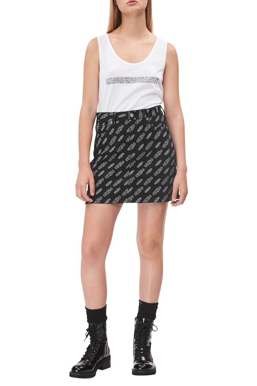 CK50 All Over Print High Rise Mini Skirt