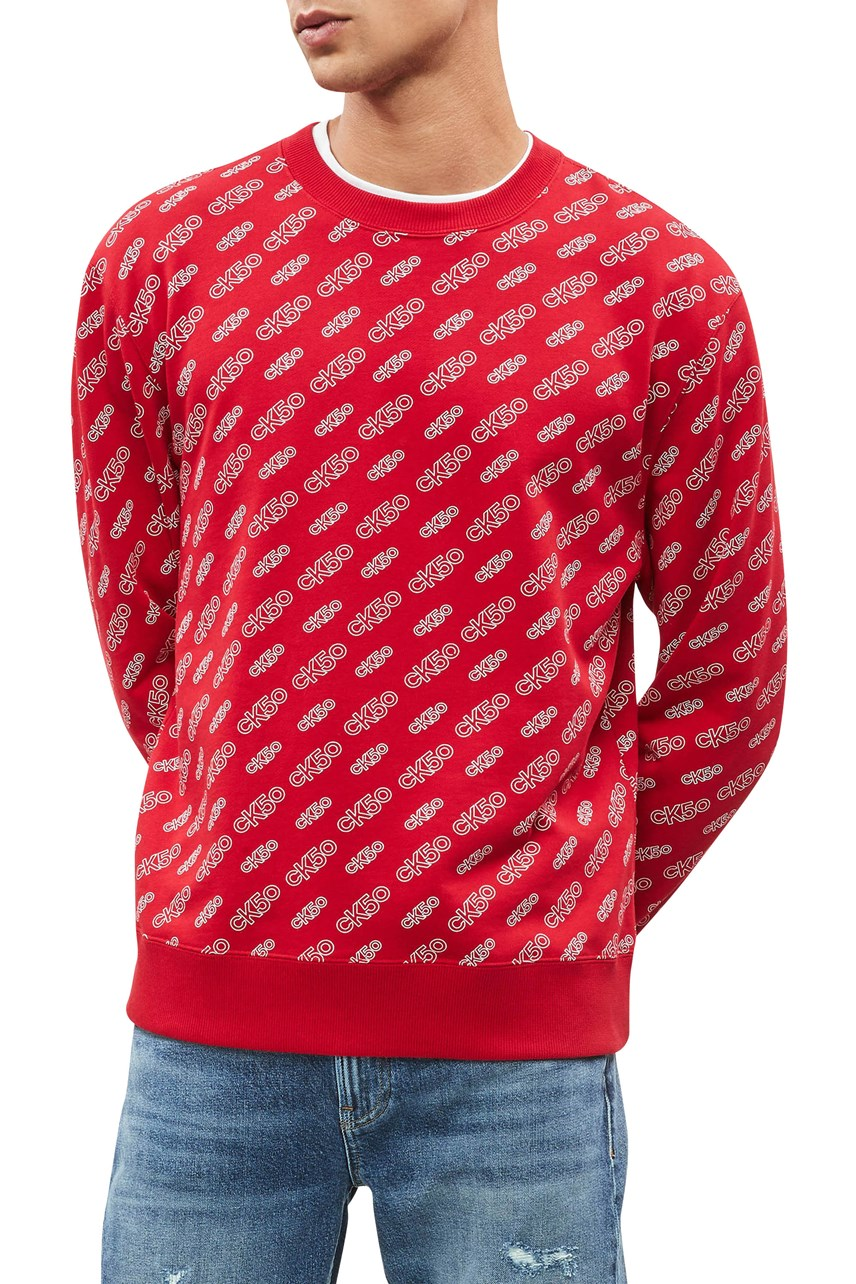CK50 All Over Print Relaxed Crew Neck Sweater