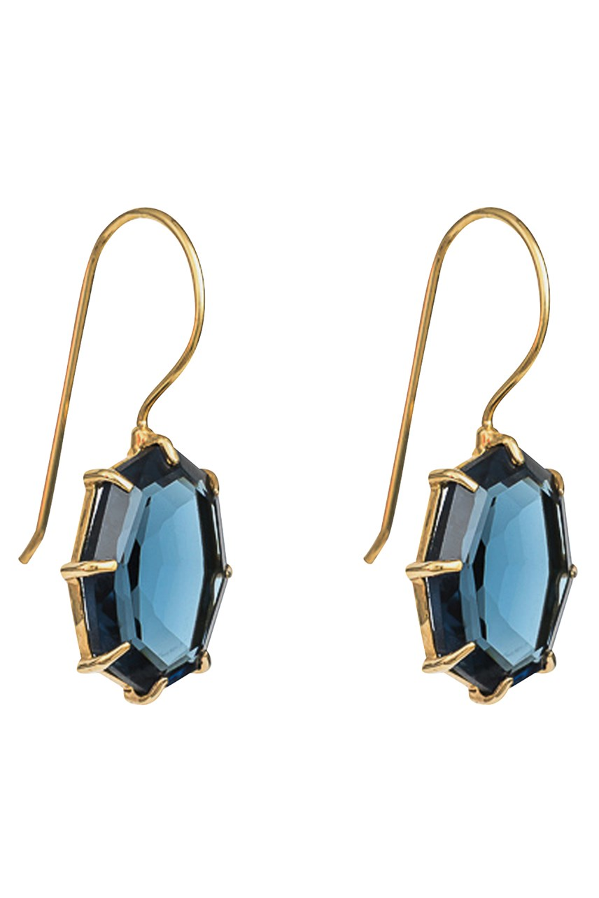 Lucent Indigo Gold Drop Earrings