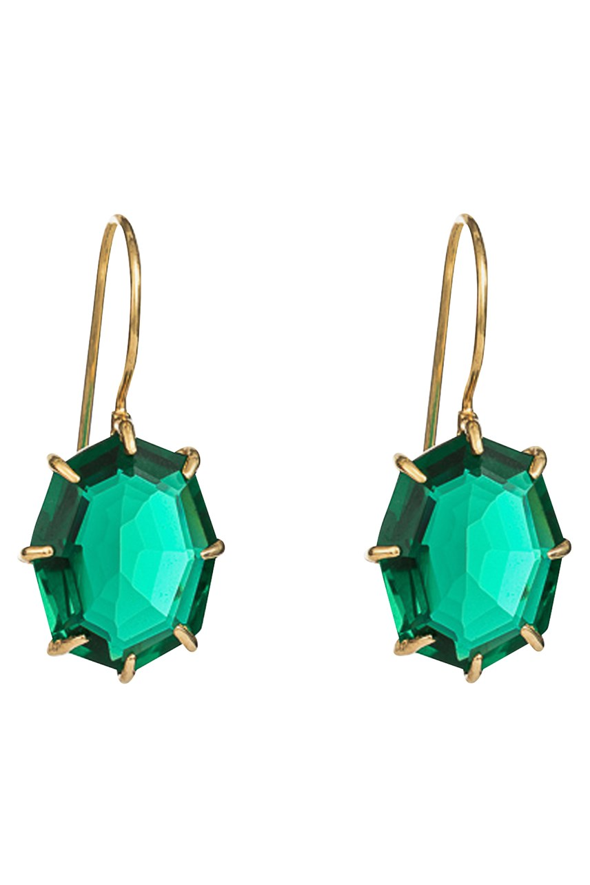 Lucent Veridian Gold Drop Earrings