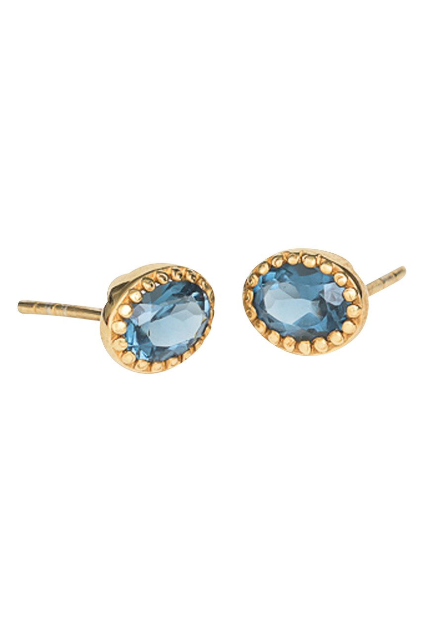Lucent Indigo Gold Stud Earrings