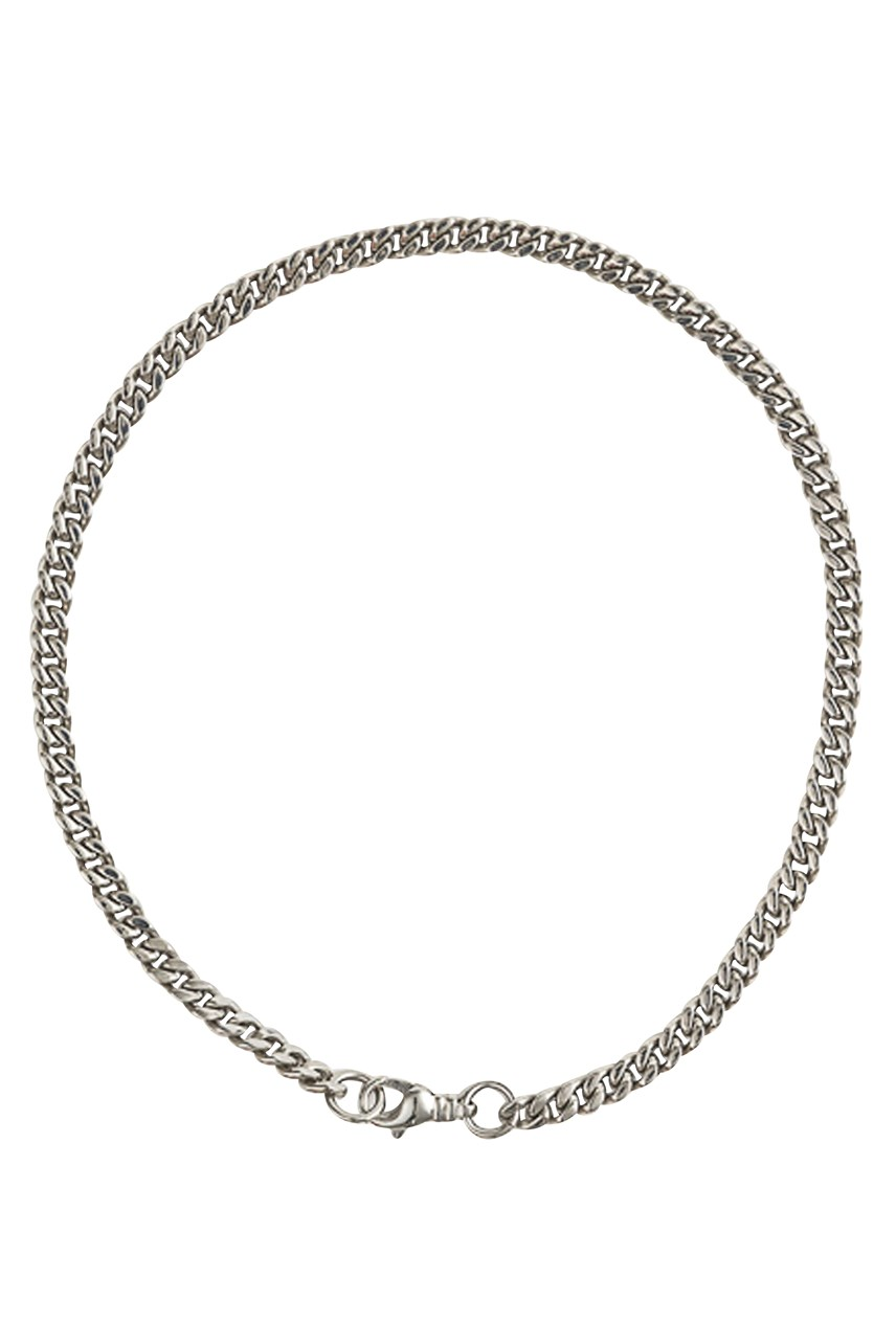 Lucent Silver Curb Short Necklace With Clasp