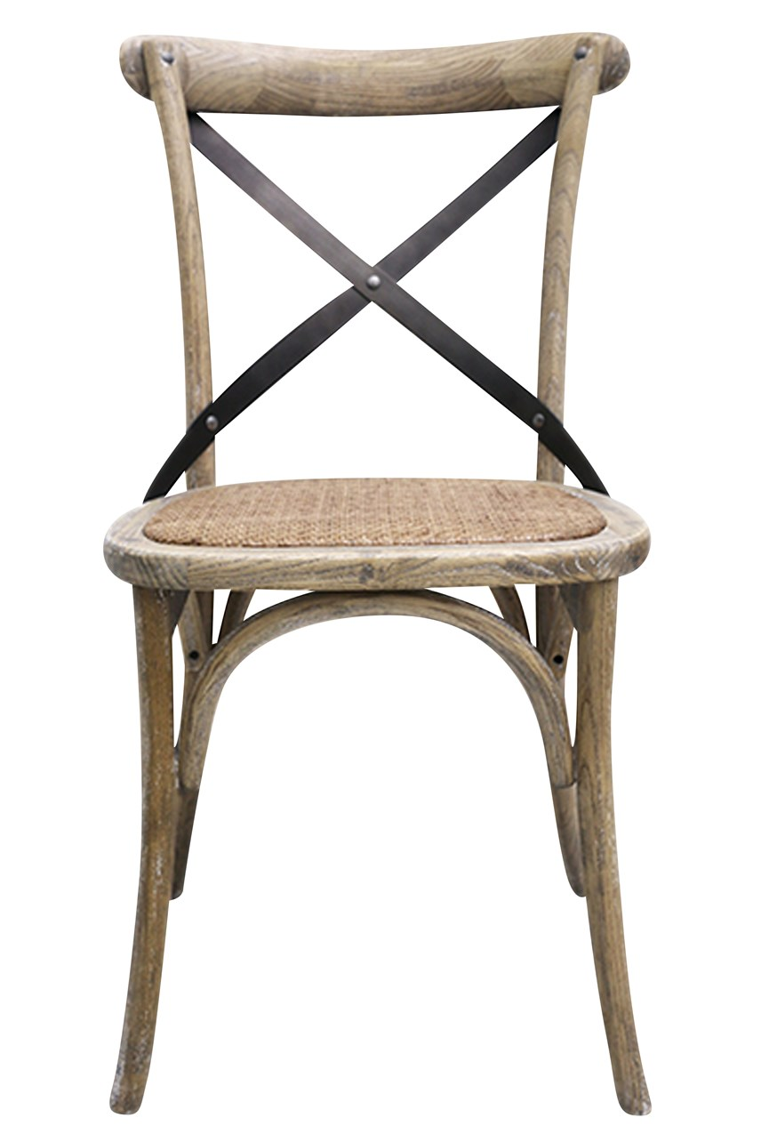 Vienna Natural Elm Chair With Metal Cross Back