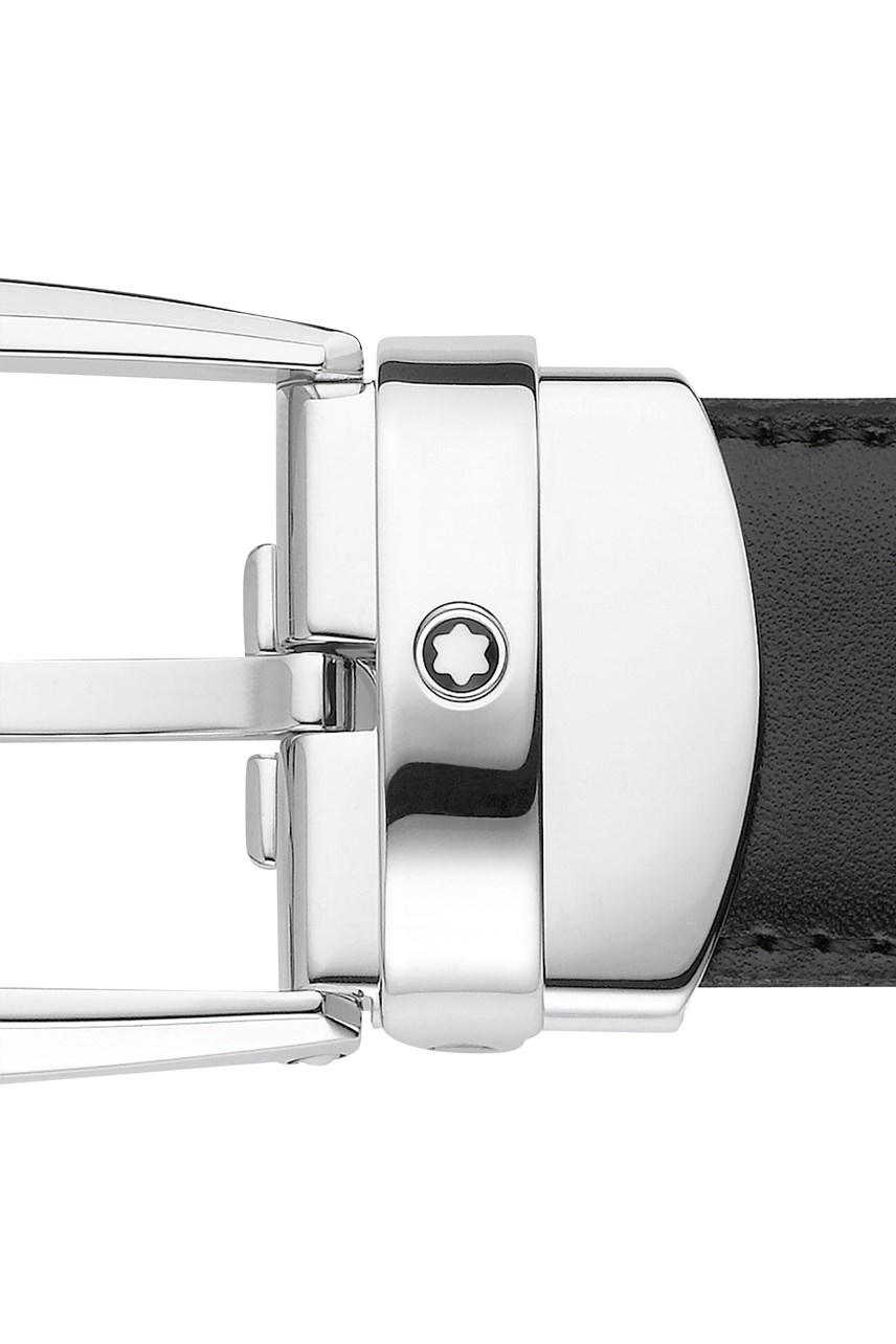 Horseshoe Oblong Shiny Palladium-Coated Pin Buckle Belt