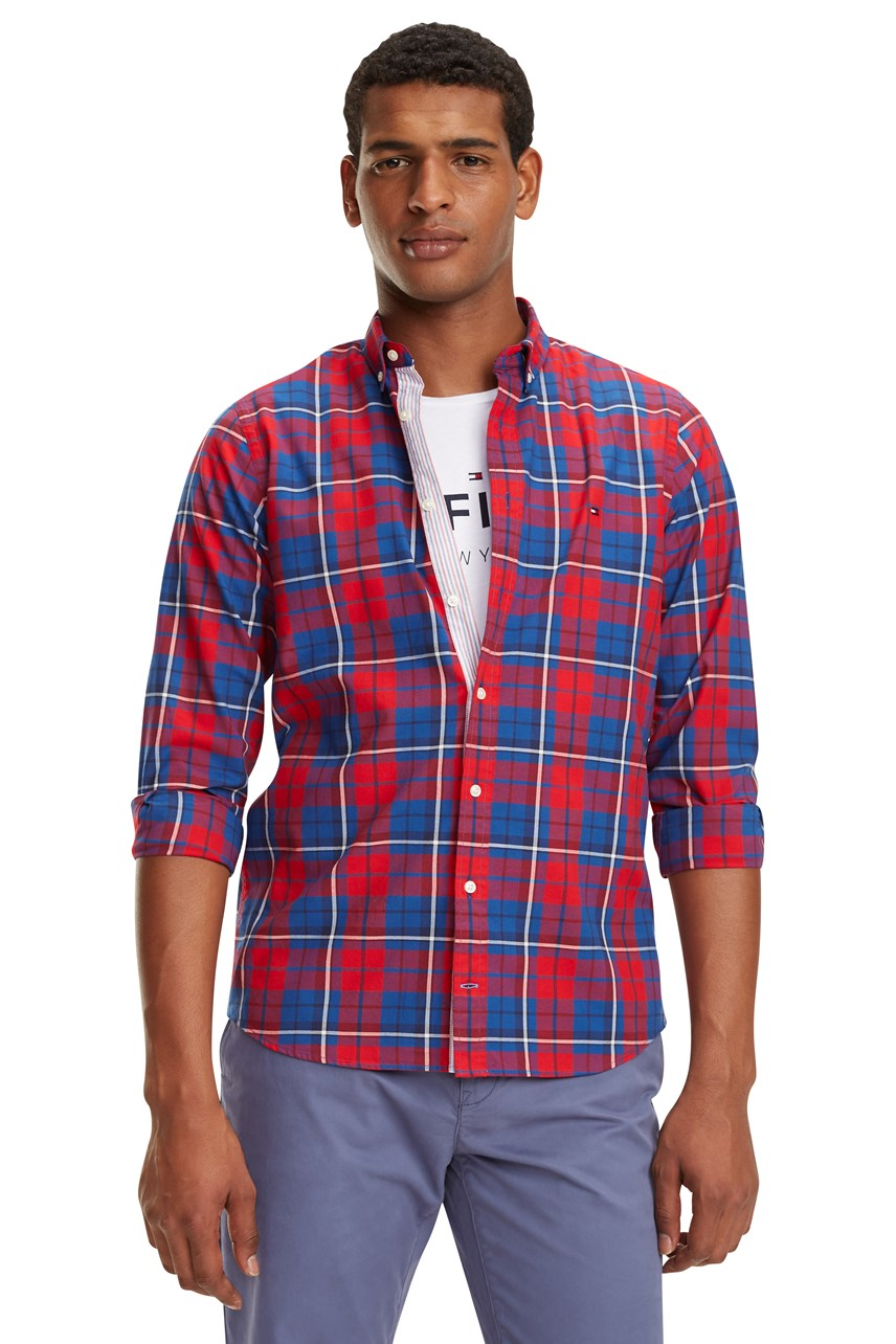 Slim Poplin Check Shirt