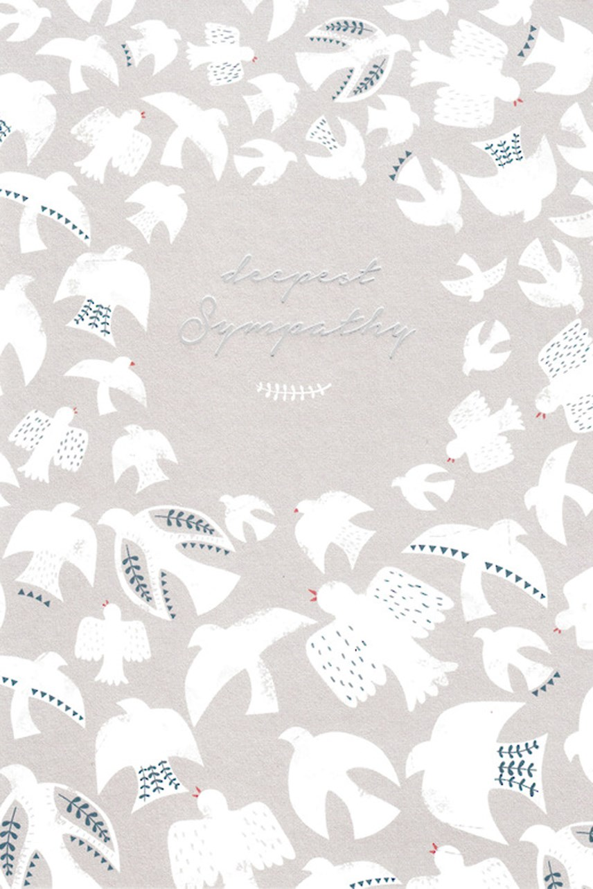 White Doves Deepest Sympathy Card