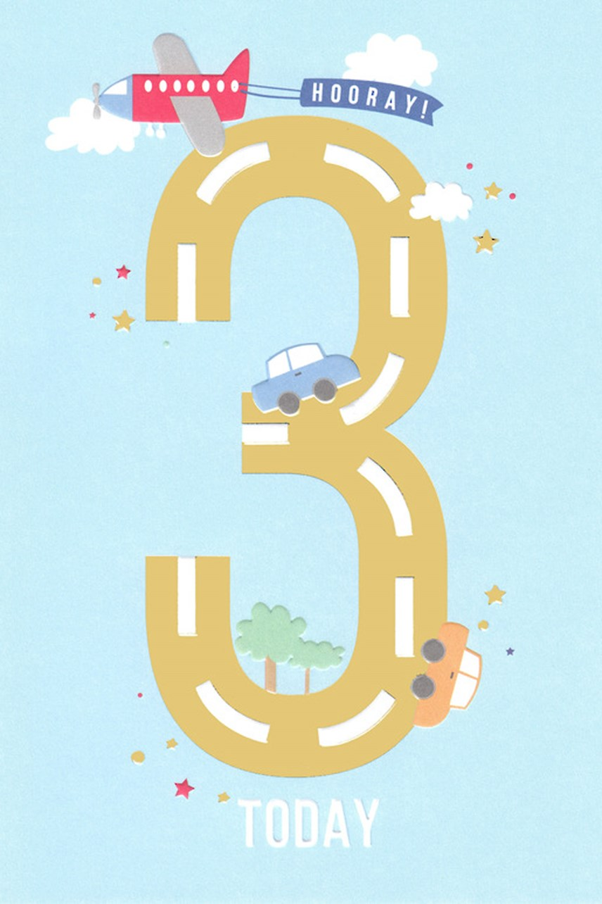 Apollo Cars Age 3 Birthday Card
