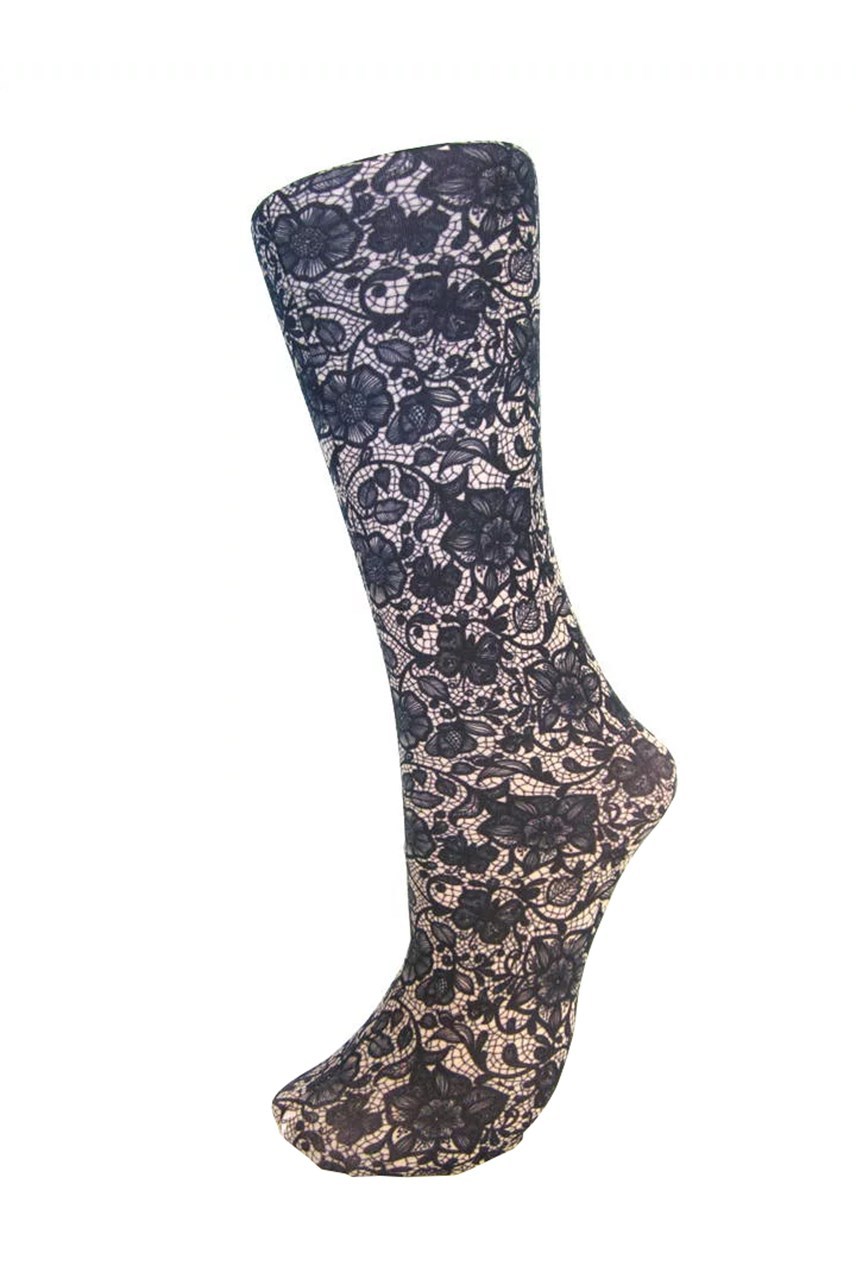 Navy Lace Compression Sock