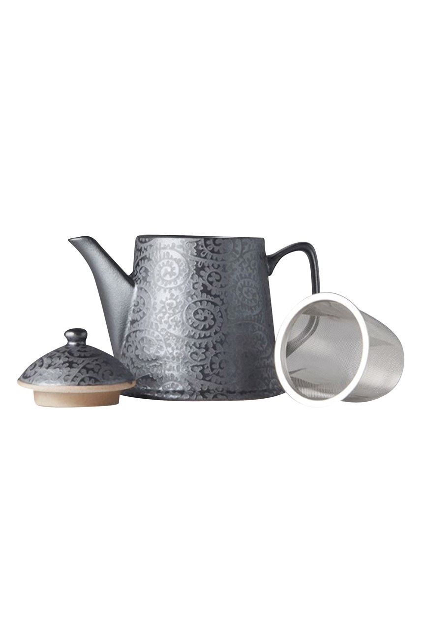 Black Scroll Teapot