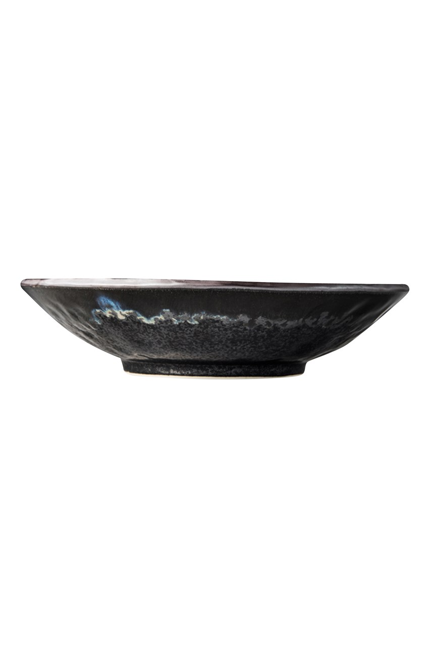 Matte Black n Shiny Large Shallow Bowl - 24cm