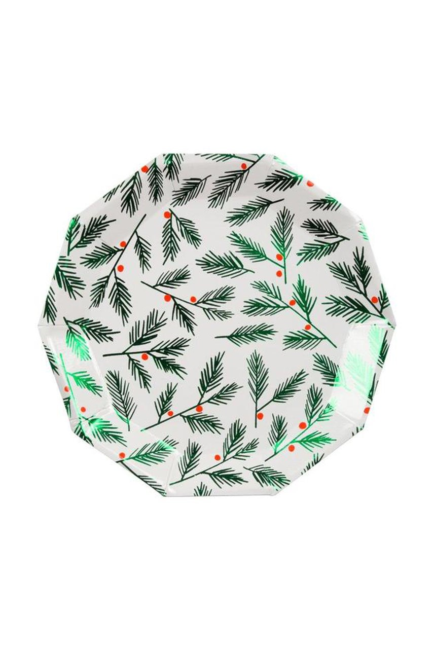 Festive Leaves & Berries Plates - Small