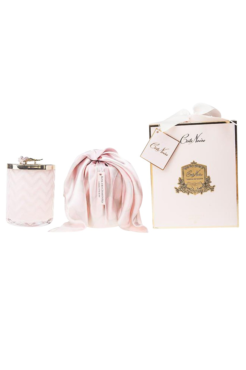 Pink Herringbone Candle With Scarf