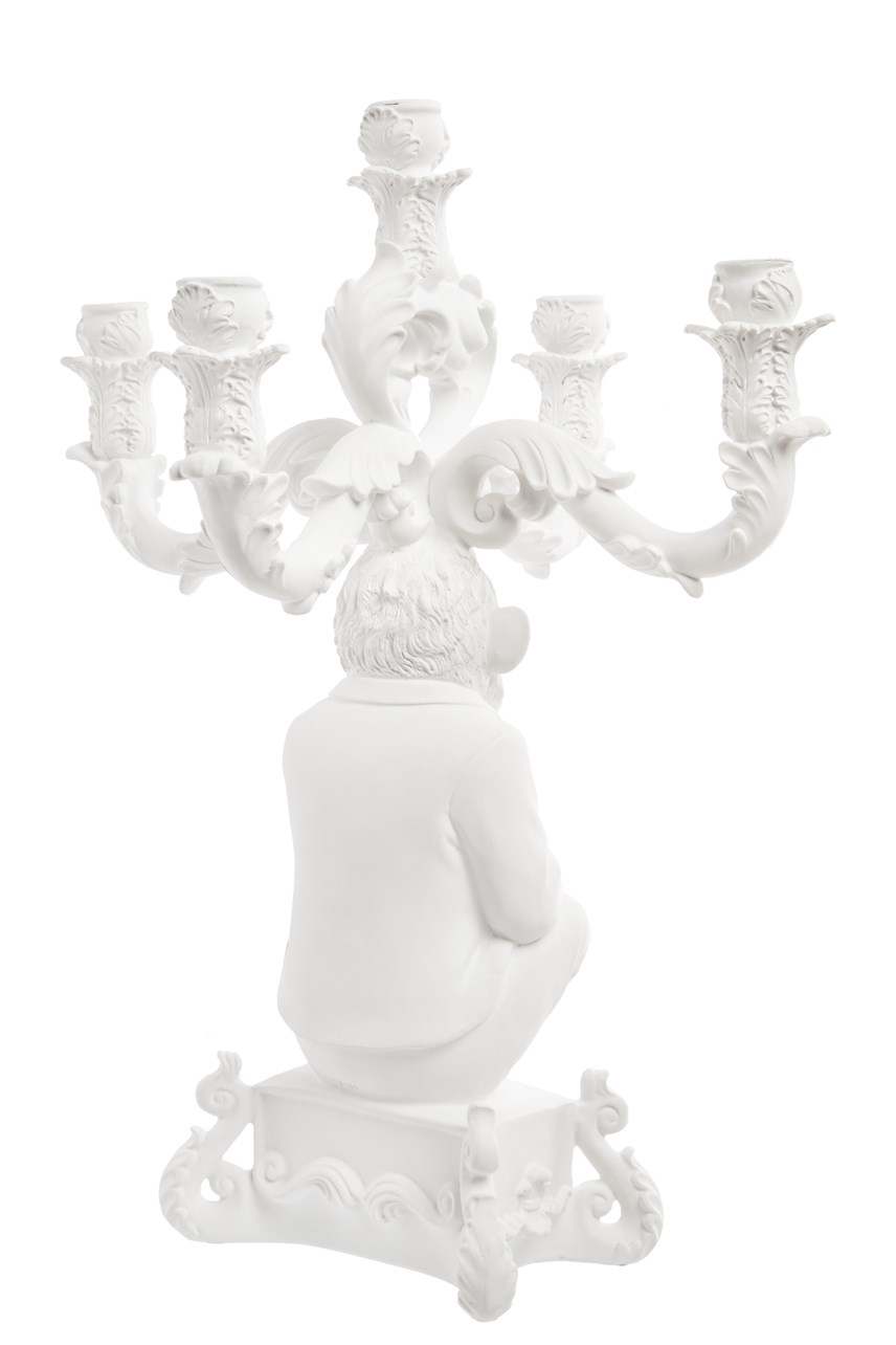 Burleque The Wise Chimpanzee Candle Holder - White