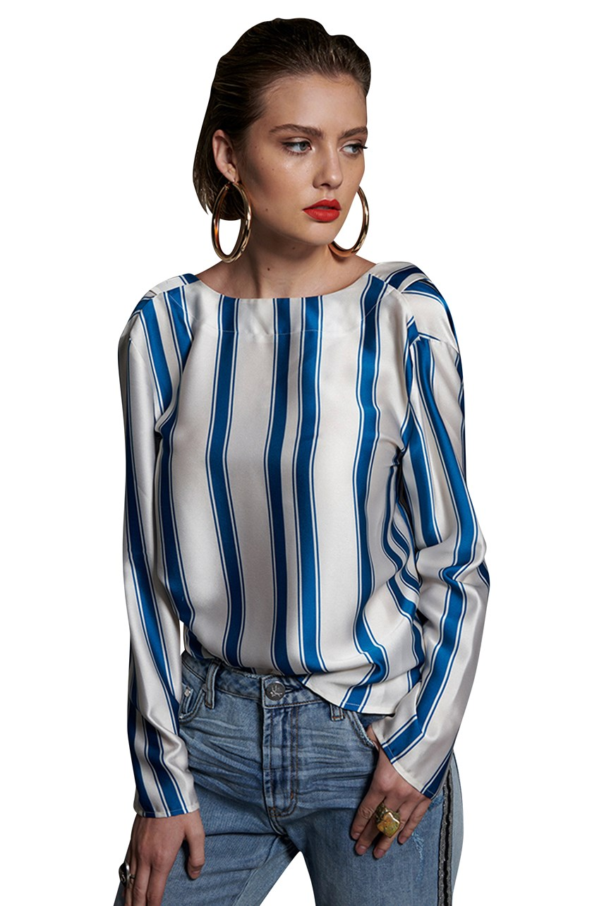 Cocktail Stripe Backless Chloe Top