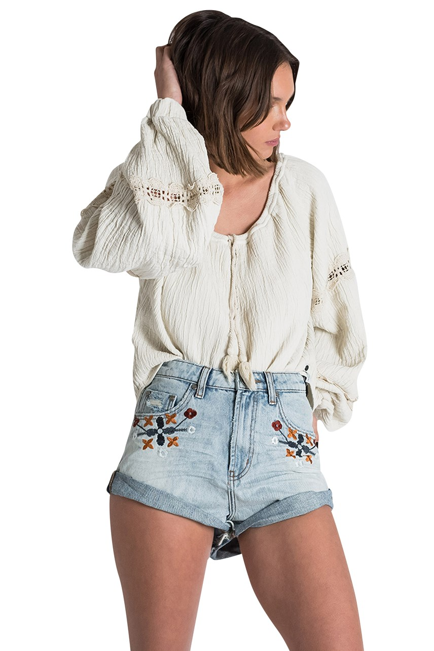 Woodstock Embroidered High Waist Shorts