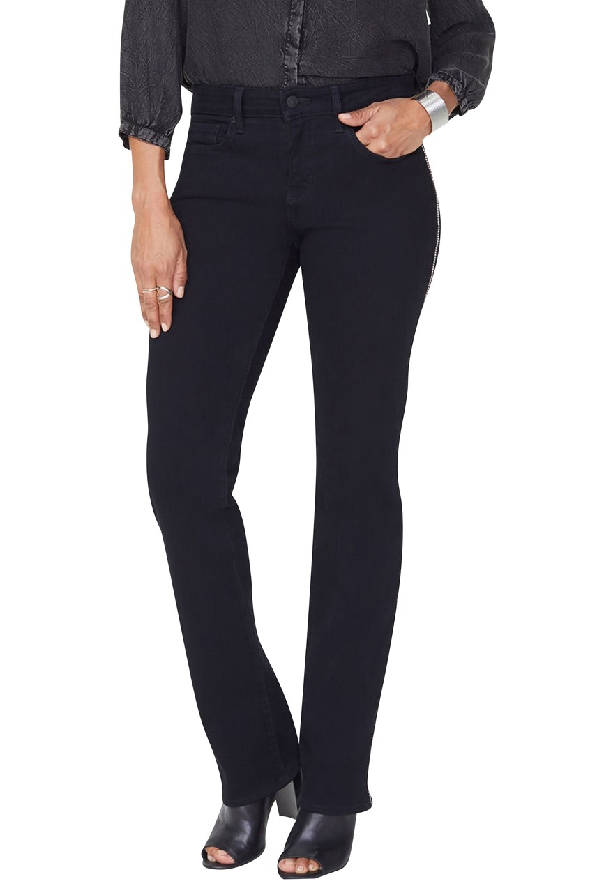 Marilyn Straight Jeans with Silver Ball Side Seam