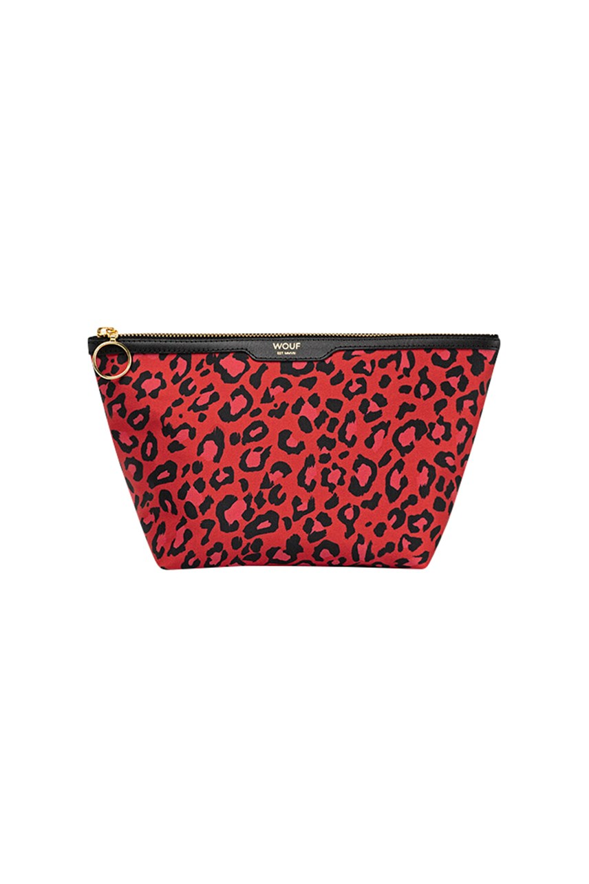 Satin Red Leopard Beauty Bag
