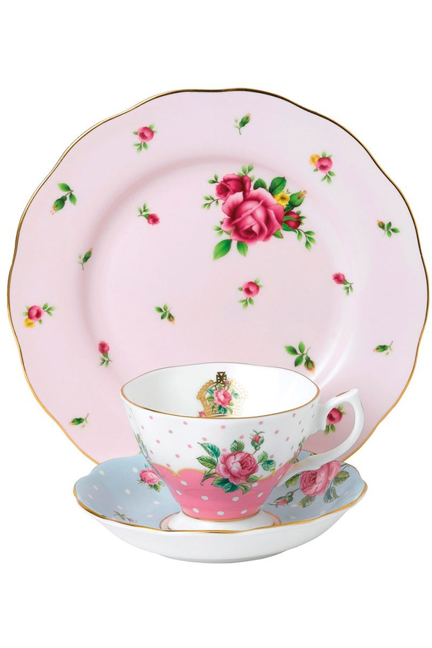 New Country Roses Pink Teacup, Saucer & Plate