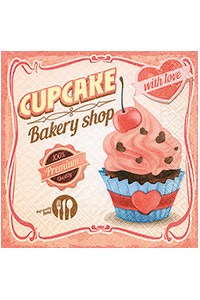 Cupcake With Love Cocktail Napkin