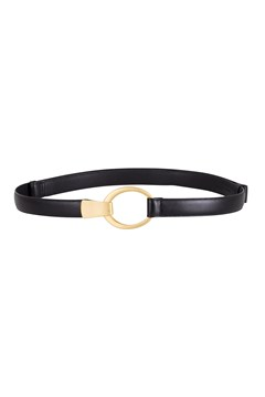 Hook & Oval Adjustable Belt Black/Gold 1