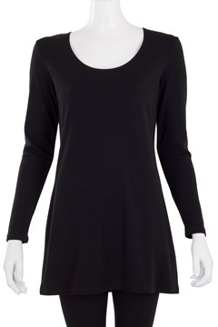 Easy Fit Scoop Neck Long Top Black 1