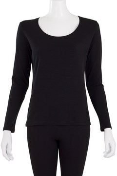 Easy Fit Long Sleeve Scoop Neck Top Black 1