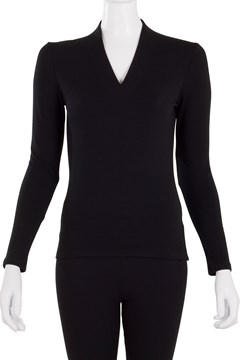 Slim Fit Long Sleeve High Neck Top - black