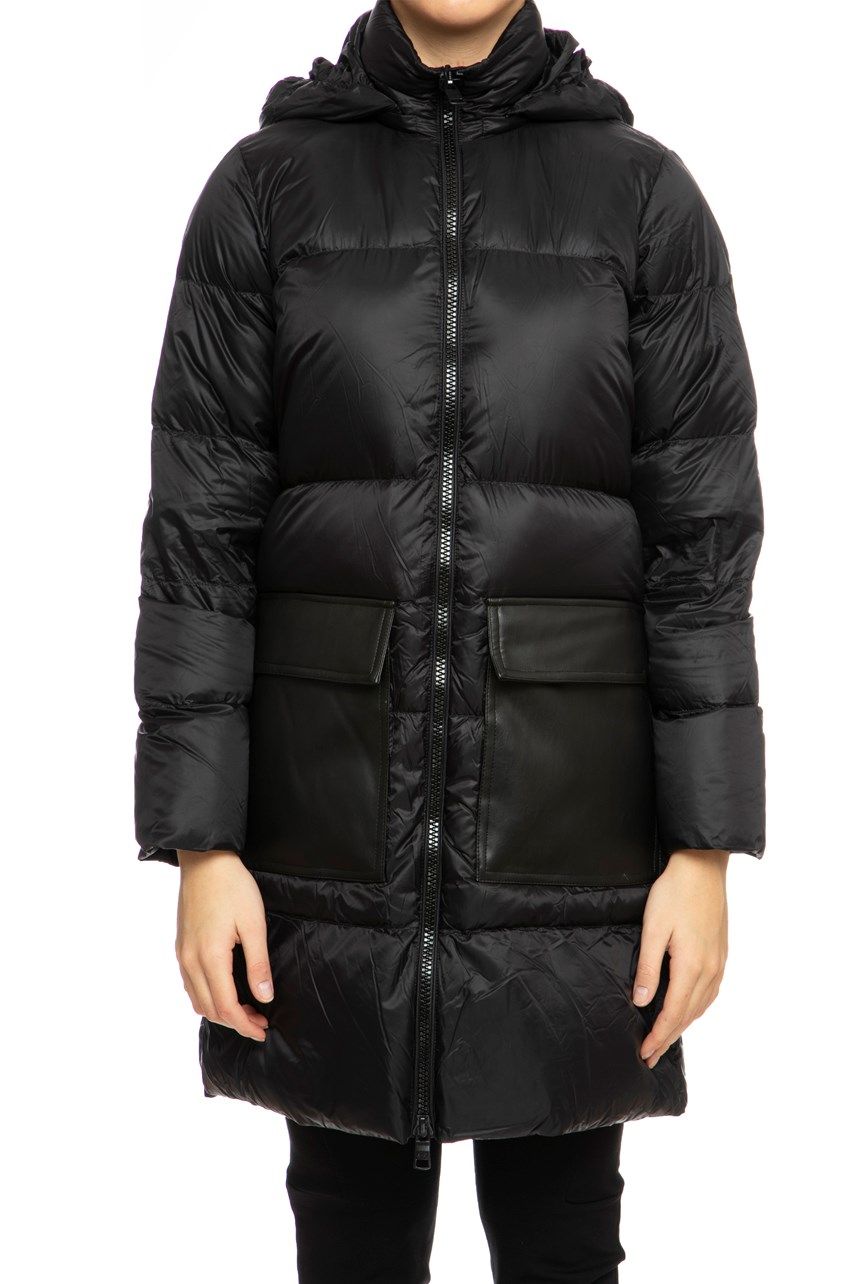 Longline Duck Down Coat With Patch Pockets