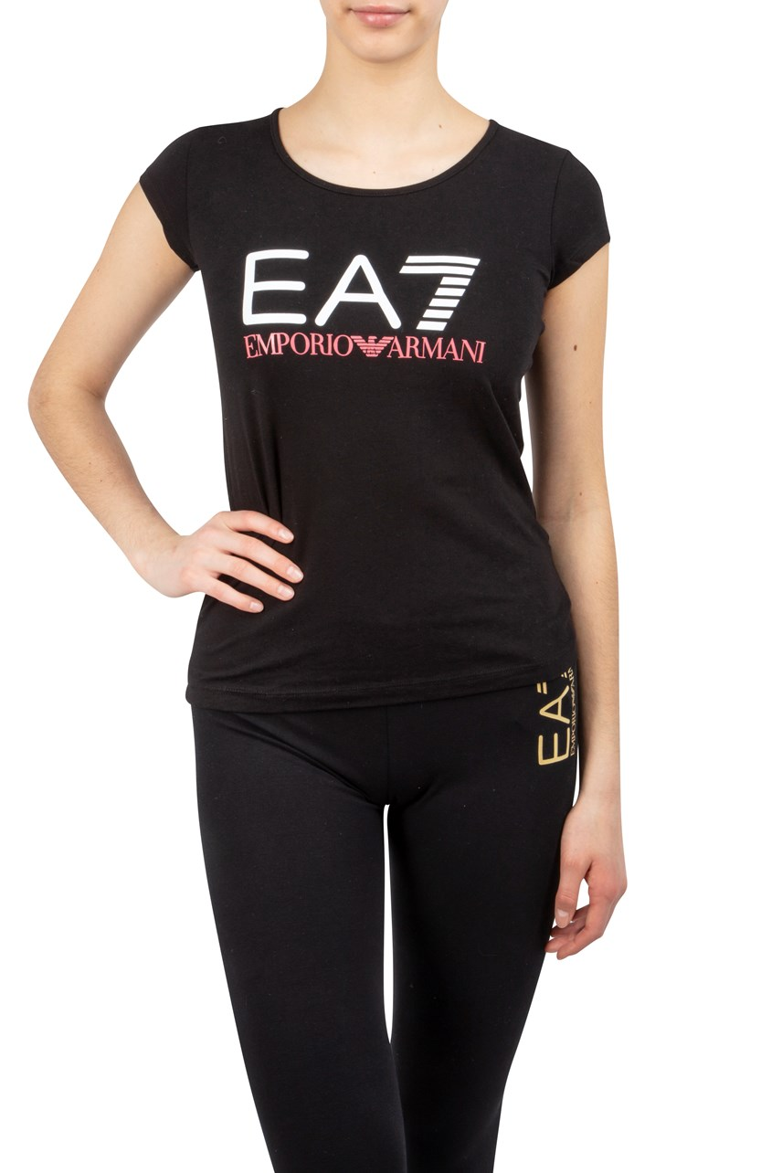 Logo Front Scoop Neck T-Shirt