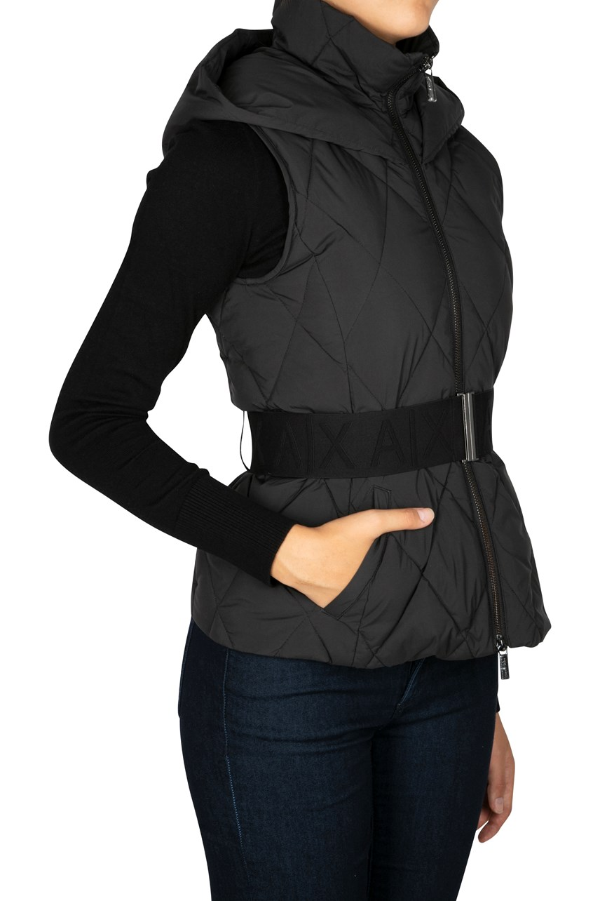 Quilted Gilet With Hood And Belt Detail