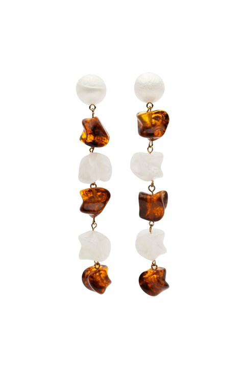 Mandi Earrings - tortishell pearl white