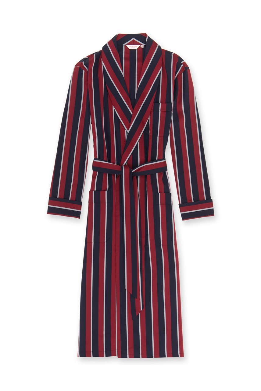 'Regimental' Cotton Satin Stripe Robe