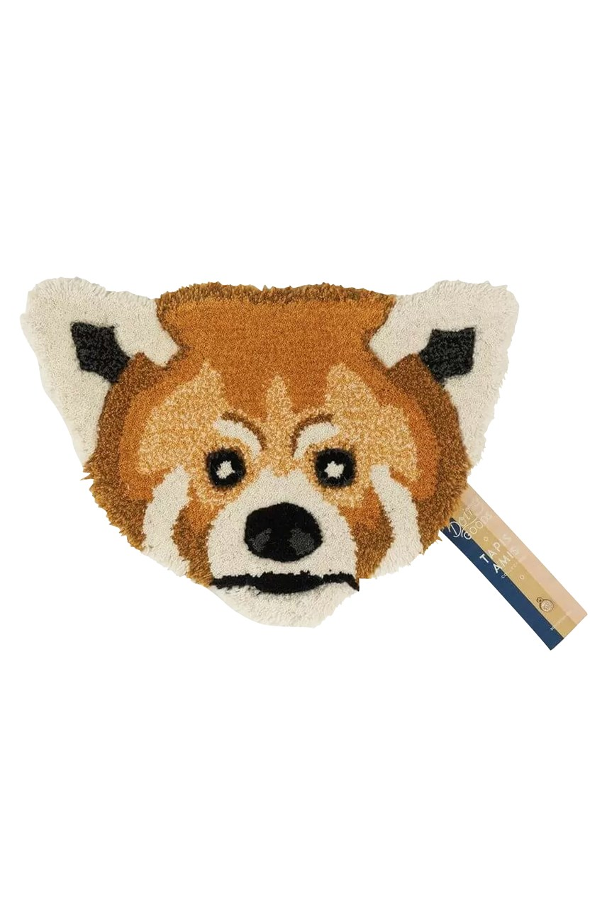 Perky Red Panda Head Rug