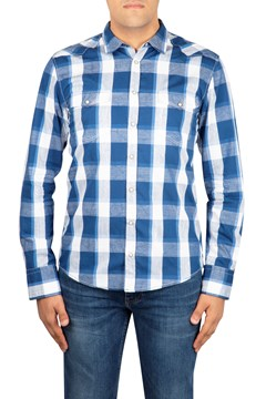 Western Check Shirt 416 NAVY 1