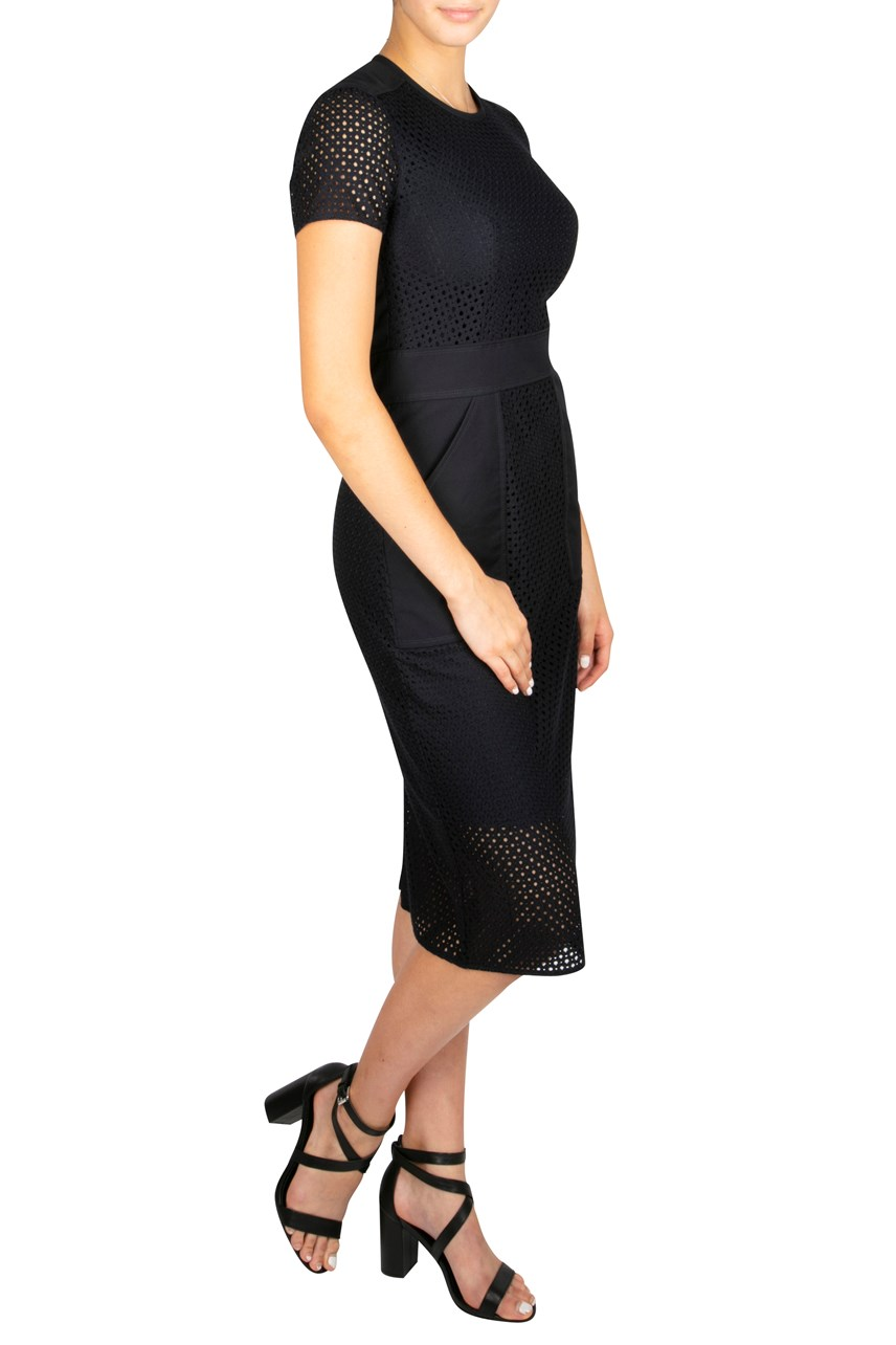 Mesh Panelled Shift Dress