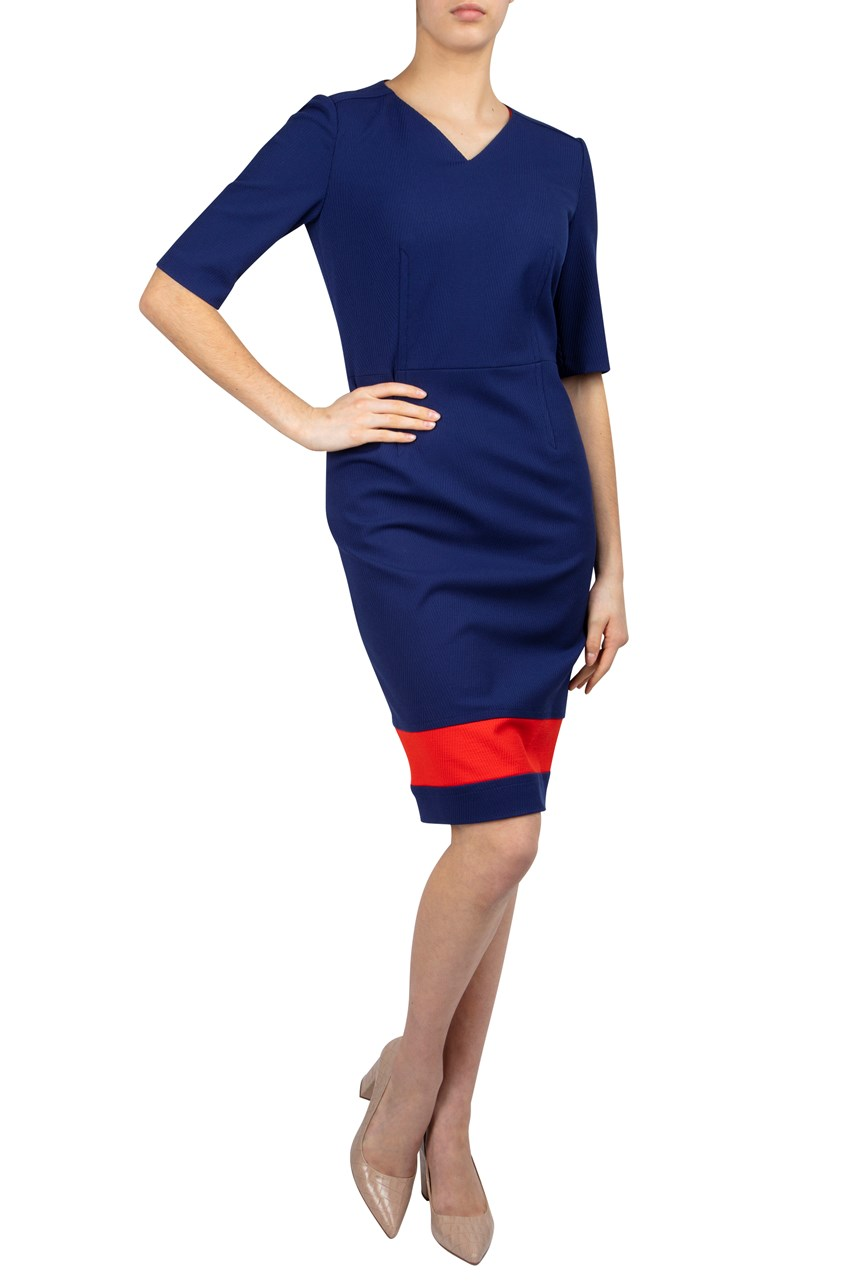 Colour Block 3/4 Sleeve Shift Dress
