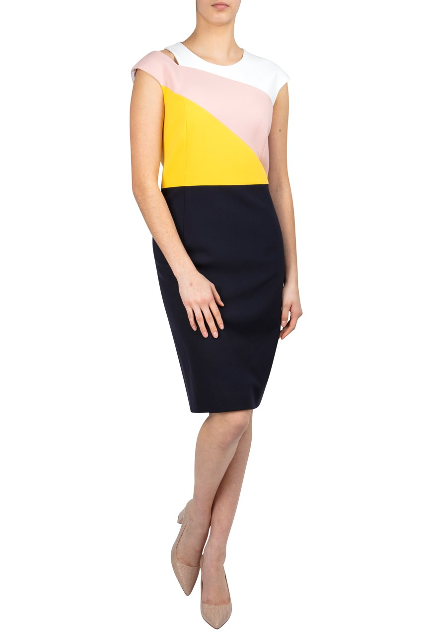 Colour Block Shift Dress With Shoulder Slit