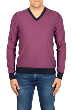 Contrast Trim V-Neck Sweater 505 DK PURPL 1