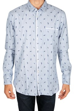 Magneton Bird Print Shirt 461 OPN BLUE 1