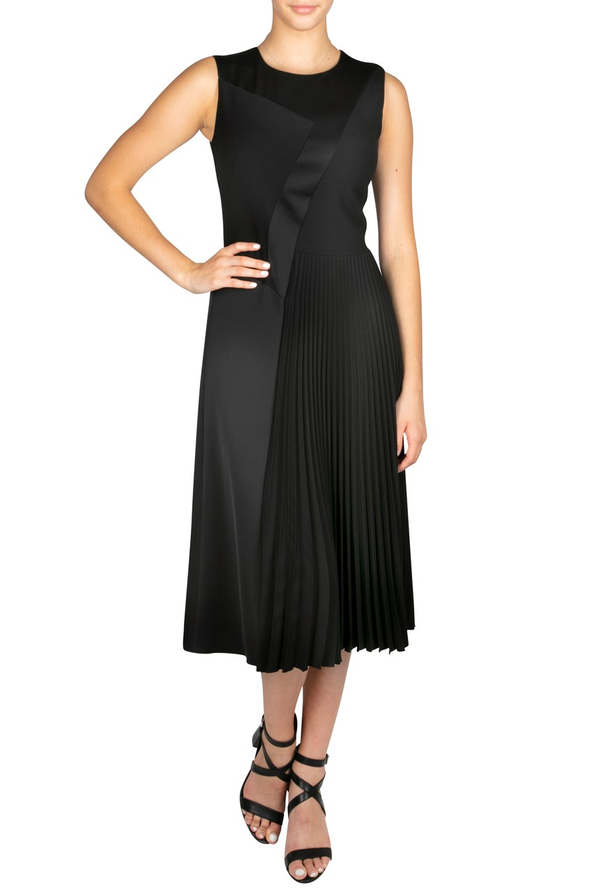 Panelled And Pleated Sleeveless Dress